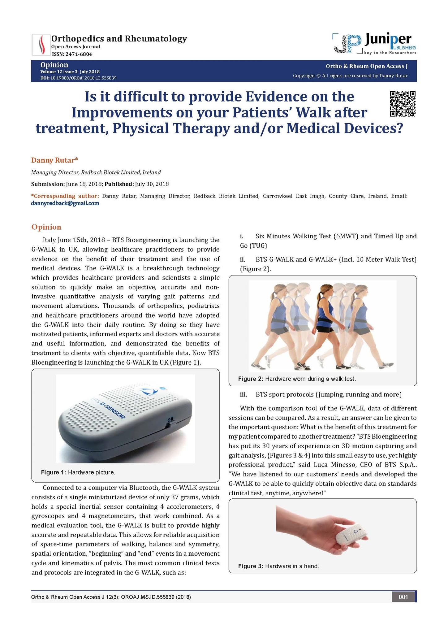 G Walk Presented In The Orthopedics And Rheumatology Scientific Review News Events Bts Bioengineering